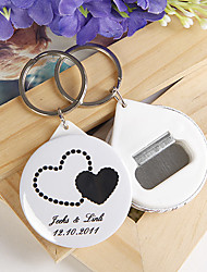Personalized Bottle Opener / Key Ring - Double Hearts (set of 12)