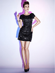 Cocktail Party / Holiday / Sweet 16 Dress - Little Black Dress Plus Size / Petite Sheath / Column Bateau Short / Mini Sequined with
