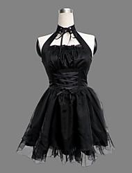 mangas na altura do joelho de algodão preto de poliéster roupa lolita