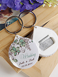 Personalized Bottle Opener / Key Ring - Green Flower (set of 12)