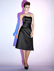 TS Couture® Cocktail Party / Holiday Dress - Little Black Dress Plus Size / Petite A-line Strapless Knee-length Satin with Ruching