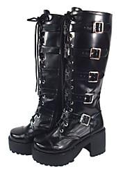 "3"" Chunky Heel Platform Black PU Lolita Boots with Buckle"