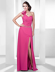 Sheath/Column One Shoulder Floor-length Chiffon Evening/Prom Dress With Split Front