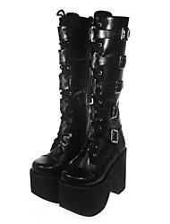 "4"" Chunky Heel Platform Black PU Lolita Boots"