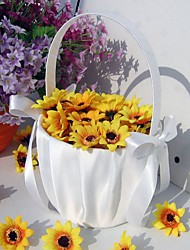 Simple Flower Basket In White Satin With Ribbon Bow Flower Girl Basket