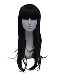 capless longa peruca de fios de alta temperatura cabelos pretos e lisos