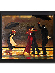 Framed Hand-painted People Oil Painting  with Stretched Frame