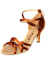 Satin Upper Peep Toe Dance Shoes With Buckle Ballroom Latin Shoes for Women More Colors
