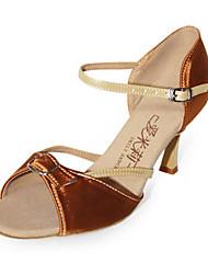 satinado / cuero superior peep toe altos zapatos de tacón de baile de salón latino zapatos para mujeres