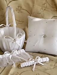 starlight coleção do casamento definir em cetim branco com strass (3 peças)