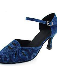 Non Customizable Women's Dance Shoes Latin/Modern/Ballroom Taffeta Stiletto Heel Blue/Fuchsia/Gray