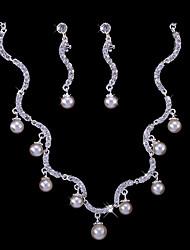 rhinestone elegante e imitação de pérolas colar de noiva e brincos