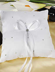 Starlight Ring Pillow In White Satin With Rhinestone