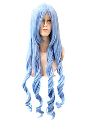 Capless Extra Long Body Wave Synthetic Cyan Party Hair Wig