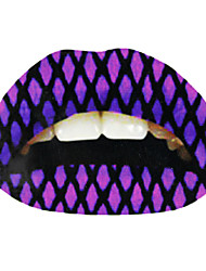 5 Pcs Purple Fishnet Temporaty Lip Tattoo Sticker