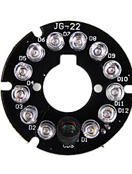 Infrared 12-LED Illuminator Board Plate for 3.6mm Lens CCTV Security Camera