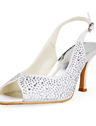 Satin Upper Stiletto Heel Peep Toe Wedding Shoes More Colors Available