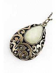 Women's Tear Drop Carved Pendant Necklace