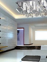 Modern Crystal Flush Mount with 9 Lights in Square