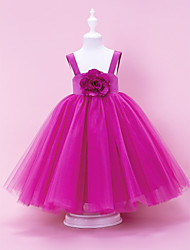 Lanting Bride A-line / Ball Gown / Princess Floor-length Flower Girl Dress - Satin / Tulle Sleeveless Square / Straps withDraping /