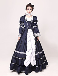 One-Piece/Dress Gothic Lolita Princess Cosplay Lolita Dress White / Ink Blue Patchwork / Color Block Long Sleeve Long Length Dress For