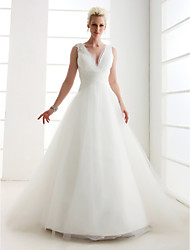 Lanting Bride Princess Petite / Plus Sizes Wedding Dress-Floor-length V-neck Tulle