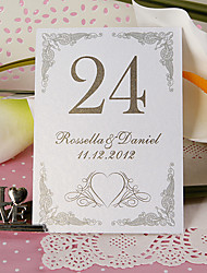 Place Cards and Holders Personalized Table Number Card - Heart Tracery (set of 10)