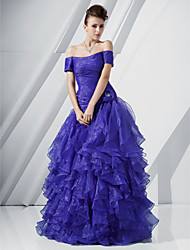 A-Line Princess Off-the-shoulder Floor Length Organza Prom Dress with Flower by TS Couture®