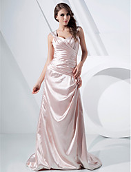 A-line Straps Court Train Stretch Satin Evening/Prom Dress