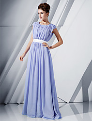 A-Line Princess Scoop Neck Floor Length Chiffon Evening Dress with Beading by TS Couture®
