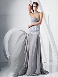 Sheath / Column Mermaid / Trumpet Strapless Sweetheart Floor Length Chiffon Evening Dress with Appliques by TS Couture®