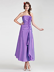 Lanting Bride Tea-length Organza / Taffeta Bridesmaid Dress A-line / Princess Strapless Plus Size / Petite withFlower(s) / Ruffles / Side