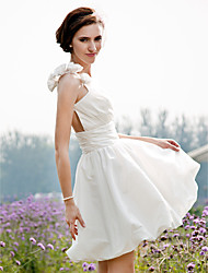 Lanting Bride® A-line / Princess Petite / Plus Sizes Wedding Dress - Chic & Modern / Reception See-Through Wedding Dresses Short / Mini