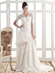Lanting A-line V-neck Court Train Taffeta Wedding Dress