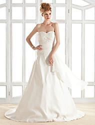 lanting novia una línea / princesa pequeña / más el tamaño de vestido de boda del tren de la cancha