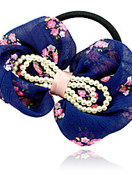 Chiffon Bow and Pearl Hair Tie