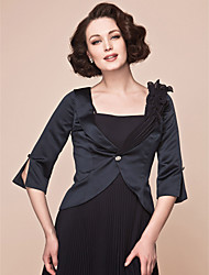 Women's Wrap Coats/Jackets 3/4-Length Sleeve Chiffon / Satin Black Wedding / Party/Evening V-neck Button / Draped Clasp