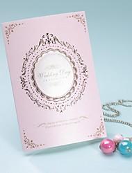 style royal invitation de mariage à trois volets en rose-ensemble de 50/20