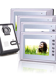 Four 7 Inch Color TFT LCD Video Door Phone Intercom System (1 Plastic Camera)