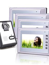 quatre 7 pouces couleur TFT LCD vidéo porte téléphone système d'interphone (1 caméra en plastique)