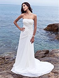 Lanting Bride Sheath/Column Petite / Plus Sizes Wedding Dress-Chapel Train Strapless Chiffon