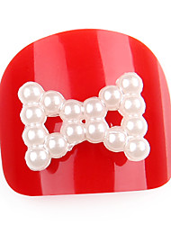 20pcs White Pearl Bowknot Nail Decoration Lovely Outlooking Nail Art Decorations 11mm