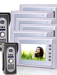 Six 7 Inch Color TFT LCD Video Door Phone Intercom System with 2 Waterproof Camera (420 TVL)