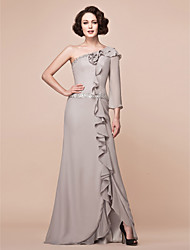 Lanting Bride® Sheath / Column Plus Size / Petite Mother of the Bride Dress Floor-length 3/4 Length Sleeve Chiffon withBeading / Ruffles