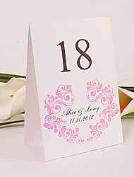 Place Cards and Holders Personalized Standing Table Number Card - Pink Flourishes (Set of 10)