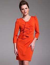 TS Ruffle Neckline 3/4 Sleeve Dress