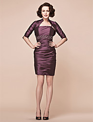 Sheath/Column Plus Sizes / Petite Mother of the Bride Dress - Grape Short/Mini Half Sleeve Taffeta