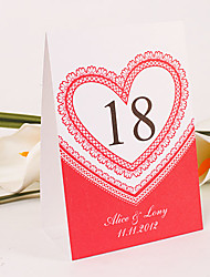Personalized Standing Table Number Card – Heart Of Lace (Set of 10)
