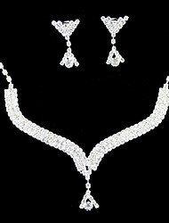 Jewelry Set Women's Wedding / Engagement / Birthday / Gift / Party Jewelry Sets Silver / Alloy Rhinestone Necklaces / Earrings Silver
