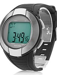 hombres y mujeres multifunción de silicona reloj digital de pulsera automático (negro)